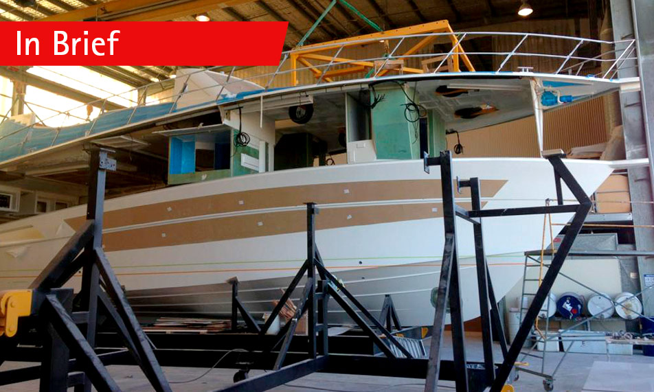 Construction is well underway on the new 75 Enclosed Flybridge bound for Dubai