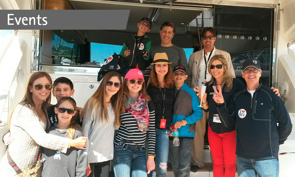 Proud Riviera owners toast their new 50 Enclosed Flybridge